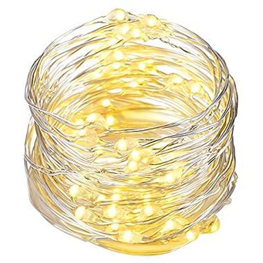 String Lights,Oak Leaf 9.8ft 60LEDs Led String Lights Starry Silver Wire Lights for Party Wedding,Batteries Powered