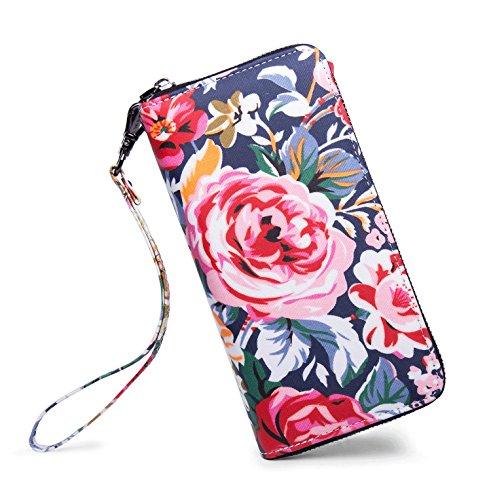 LIKEWE Women Flower Wallet Zip Around Clutch Wallet Large Travel Purse (PU-Flower-DHH168)