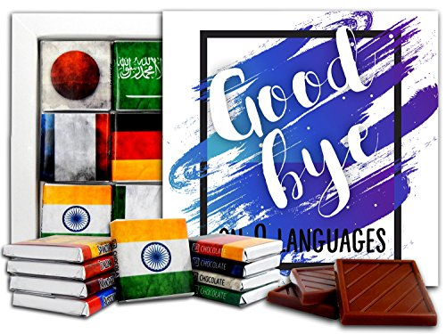 DA CHOCOLATE Candy Souvenir GOODBYE on 9 different languages Chocolate Gift Set 5x5in 1 box - White Box Vista