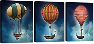 iHAPPYWALL 3 Pieces Space Theme Canvas Wall Art Steampunk Airship Fantasy Picture On Starry Night Sky Background Abstract Artwork Stretched And Framed for Kids Bedroom Classroom Ready to Hang