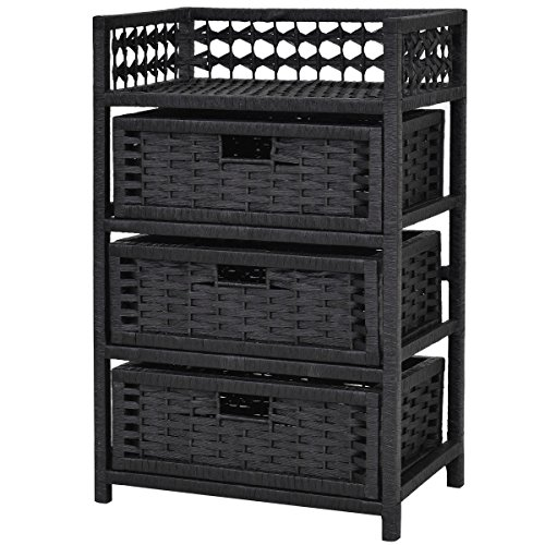 Storage Unit Tower Shelf Wicker Baskets Storage Chest Rack Black 3 Drawer (Wicker Unit Shelf)