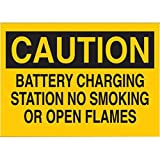 Brady 10'' X 14'' X .06'' Black On Yellow .0591'' B-401 Polystyrene Traffic Sign''CAUTION BATTERY CHARGING STATION NO SMOKING OR OPEN FLAMES''