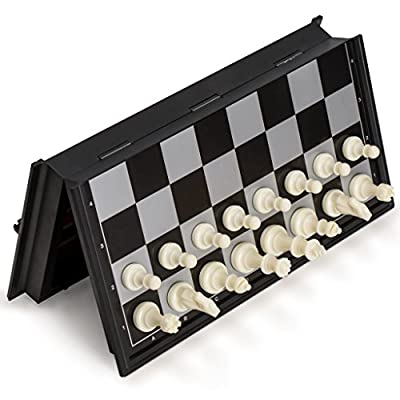 Yellow Mountain Imports 3-in-1 Travel Magnetic Chess, Checkers, and Backgammon Set - 9.8 Inches: Toys & Games
