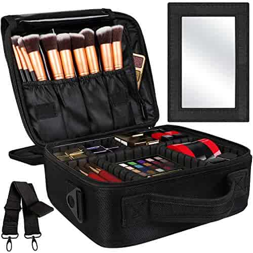Kootek 2-Layers Travel Makeup Bag, Portable Train Cosmetic Case Organizer with Mirror Shoulder Strap Adjustable Dividers for Cosmetics Makeup Brushes Toiletry Jewelry Digital Accessories, M