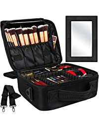 2-Layers Travel Makeup Bag, Portable Train Cosmetic Case Organizer with Mirror Shoulder Strap Adjustable Dividers for Cosmetics Makeup Brushes Toiletry Jewelry Digital Accessories, M