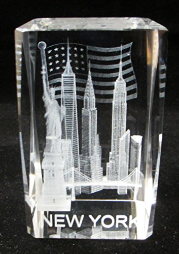 New York Souvenir NYC Skyline 3D Clear Crystal Laser Etched Glass Paperweight with Statue of Liberty Empire State Building Freedom Tower USA Flag Large - Stores 5th Nyc Avenue