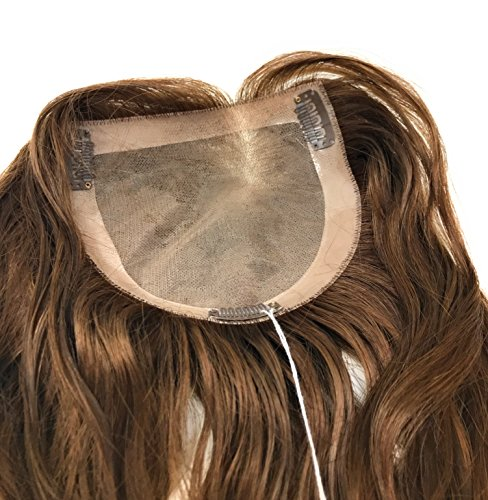 10 inch Long Wavy Real Natural Human Hair – Women's Kippah Toppers - Monofilament Bondable Hairpiece Closure / Cover Color #8 Light Brown by Mazali