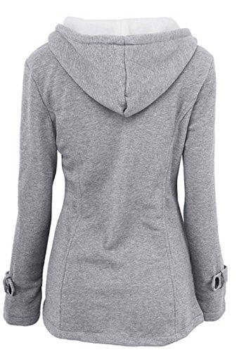 Talla Outwear Grande de de Mujer gris para YOGLY Capucha de Mujer Larga Botones Chaqueta Cuerno Invierno de con Abrigo con Abrigo Manga UxgHwqR
