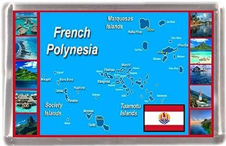 Polinesia francés Mapa regalo de recuerdo imán para nevera: Amazon ...