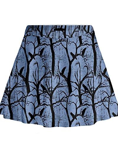 Cowcow–de cuervos y cuervos Mini Flare falda, regulares y Plus tamaño, XS-3X L azul claro