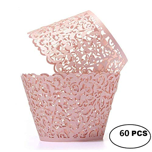 (YOZATIA Vine Cupcake Wrappers, 60PCS Lace Cupcake Liners for Regular Sized Cupcake (Pink))