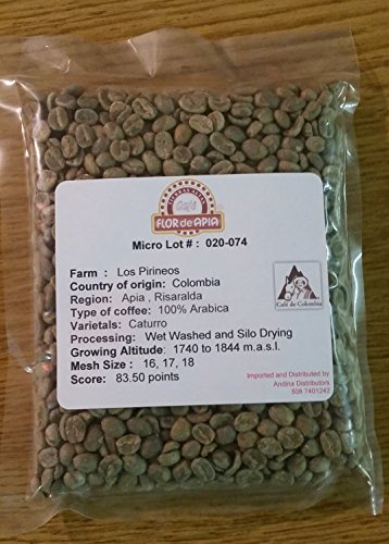 Single Origin Colombian Unroasted Coffee Beans Micro-lot Fram Los Pirineos (5 Lb)