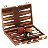 "14.75"" Recreational Board Game Vinyl Backgammon Set - Brown & White"