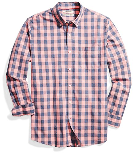 Amazon Brand - Goodthreads Mens Standard-Fit Long-Sleeve Gingham Plaid Poplin Shirt, pink/blue, X-Large