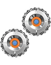 """FUNTECK 2Pcs 4 in. Grinder Disc 22-Teeth Steel Chainsaw Blade Wood Carving Disc for Cutting and Shaping, 5/8"""" Arbor, Fits 4"""" or 4-1/2"""" Angle Grinders"""