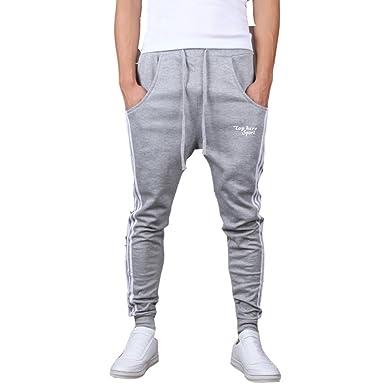 a2616b13aa17d Minetom Homme Casual Pantalon de sport Hiphop Baggy Jogging Sarouel Pants (  Gris EU S )