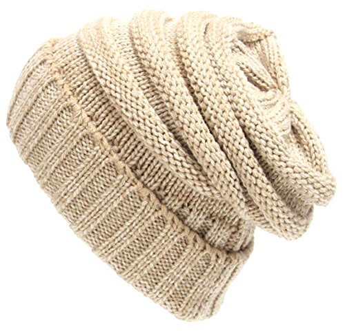 ARRIVE GUIDE Unisex Cuff Knit Warm Hat Chunky Cable Slouchy Beanie Skully Light blue
