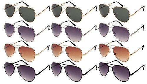 Edge I-Wear 12 Pack Wholesale Unisex Top Gun Pilot Aviator Sunglasses Spring Hinge N25095AS-AP