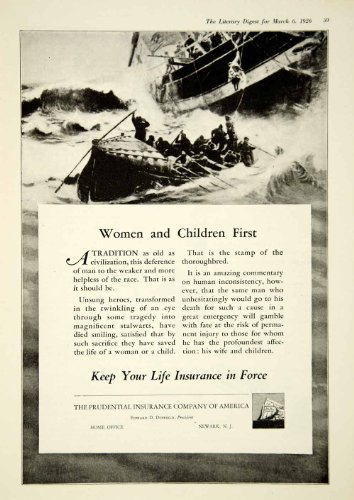 1926 Ad Prudential Insurance Sea Disaster Rescue Women Children First Lifeboat - Original Print Ad