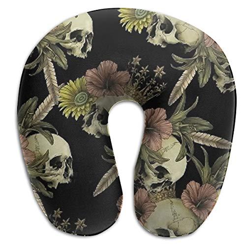 NiYoung Travel Neck Pillow Cervical Vertebra Office Neck Pillow Car Sleep Artifact Female Male Neck Sleeping Rest Cushion - Vintage Skull Flower ()