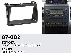 Double Din Radio Stereo Installation Panel for 2002-2009 Toyota Land Cruiser Prado 120 Lexus Gx470 Dash Trim Kit Fascia Fits 2 Sizes178x102mm and 173x98mm
