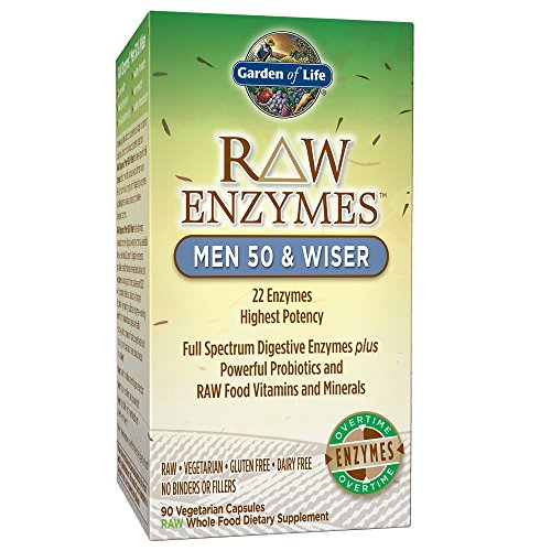 Garden of Life Vegetarian Digestive Supplement for Men - Raw Enzymes Men 50 & Wiser for Digestion, Bloating, Gas, and IBS, 90 Capsules