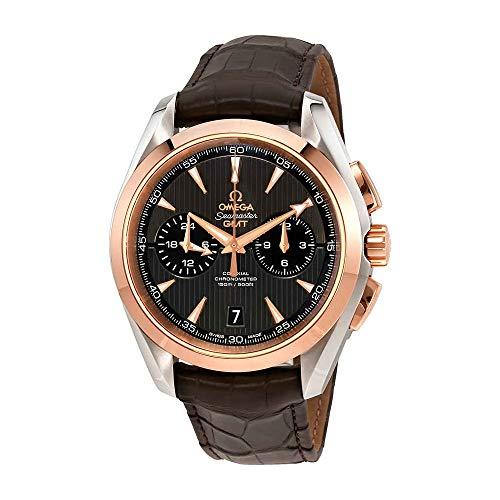 Omega Seamaster Aqua Terra Teak Grey Dial GMT Steel and 18K Rose Gold Automatic Men's Watch 23123435206001