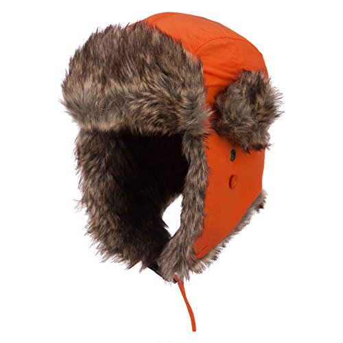 Faux Fur Aviator Trooper Hat - Orange L-XL