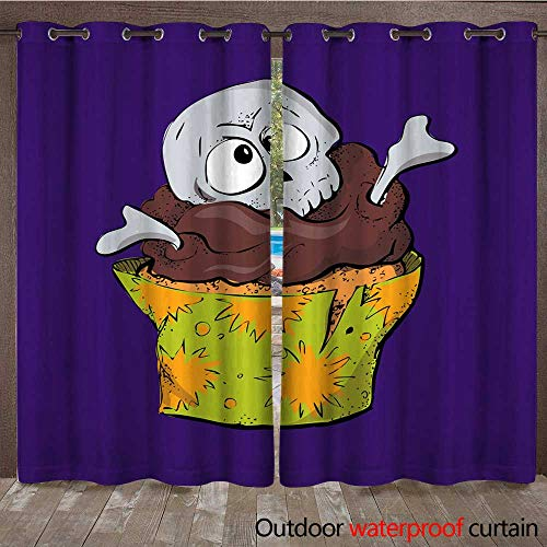 RenteriaDecor Outdoor Curtains for Patio Sheer Halloween Cake with Chocolate Cream Skull and Bones W72 x L84 -