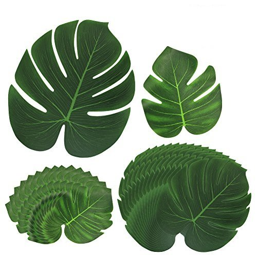 Htianc 30PCS Tropical Leaves Palm Leaves Imitation Plant Leaves, Hawaiian Jungle Beach Party Decorations Summer Flowers