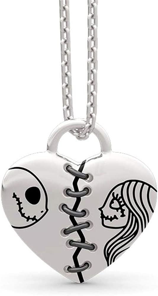 """Jeulia Jack Skellington and Sally Necklace 925 Sterling Silver """" The Nightmare Before Chirstmas"""" Pendant Necklace Jack Skellington Halloween Jewelry Romantic Jewelry Gift"""