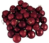 "60ct Burgundy Shatterproof 4-Finish Christmas Ball Ornaments 2.5"" (60mm)"