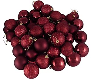 60ct burgundy shatterproof 4 finish christmas for Maroon christmas tree decorations