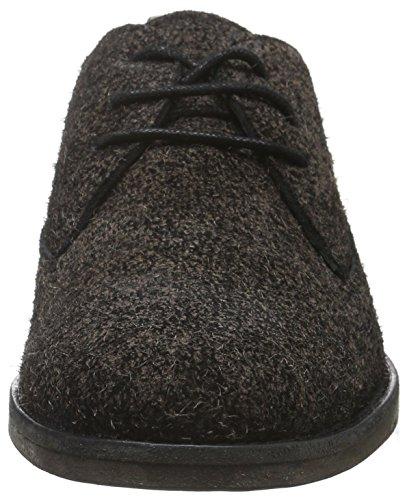 Fred de la Bretoniere Schnürer Leder Sohle, Zapatos de Cordones Derby para Mujer Negro
