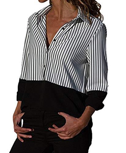 Tops Longues Noir Automne Revers Femmes Casual Chemises Raye Fashion Manches Hauts Chemisiers JackenLOVE Printemps Tee pissure Blouse et Shirts 6aqwBnSxgW