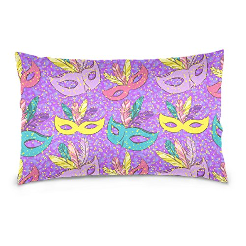 Double Sided Colorful Feather Carnival Mask Mardi Gras Cotton Velvet Pillowcase 20x36 Inch Zippered Throw Pillow Case Cover Set (Black Velvet Feather Mask)