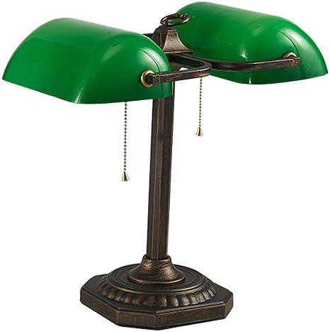 Verde Antico Lampada Da Tavolo Doppia Scrivania Luce Con Interruttore A Fune Retro Luce Banca Classico Da Tavolo Illuminazione E27 2 Luci Amazon It Illuminazione