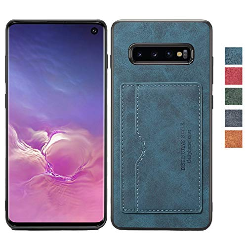 Samsung Galaxy S10 Leather Case,S10 Slim Wallet Case,Leather Back Cover Case,Credit Card Slot Design,Durable Protective Case for Samsung S10-Blue (Design Pu Slim Leather)