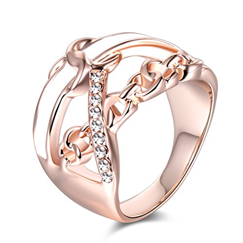 TEMEGO Women's Vintage 18K Rose Gold Plated Round Cut Created Diamond Filled Enamel Infinity Love Knot Crisscross Engagement Rings