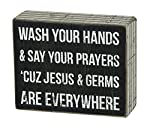 Primitives by Kathy Box Sign, 4-Inch by 5-Inch, Jesus & Germs