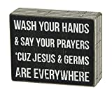 Kids Bathroom Decor Primitives by Kathy Box Sign, 4-Inch by 5-Inch, Jesus & Germs