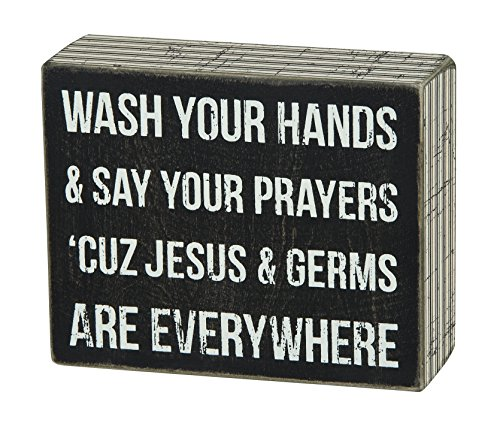 (Primitives by Kathy Pinstripe Trimmed Box Sign, 5 x 4-Inches, Jesus & Germs)