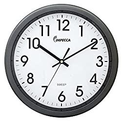 Impecca WCW12M1 Non Ticking Sweep Movement 12 Wall Clock (Metallic Grey)