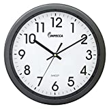 Impecca  WCW12M1 Non Ticking Sweep Movement 12'' Wall Clock (Metallic Grey)