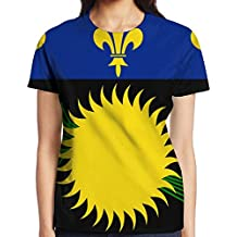 Yongchuang Feng Guadeloupe Flag Women's Printed Pullover Casual Tees Short Sleeve T-Shirt For Youth Girls