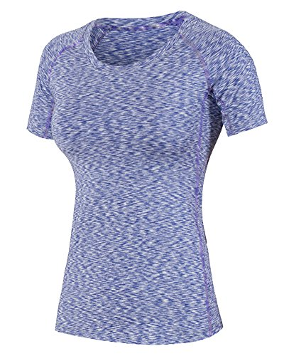Camiseta de Compresión de Deporte de Manga Corta Y Secado Rápido para Mujer Morado