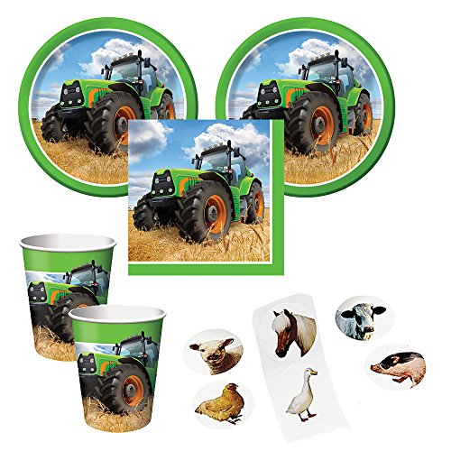 Tractor Time party supplies for 16 guests - cake plates, napkins, cups plus bonus stickers