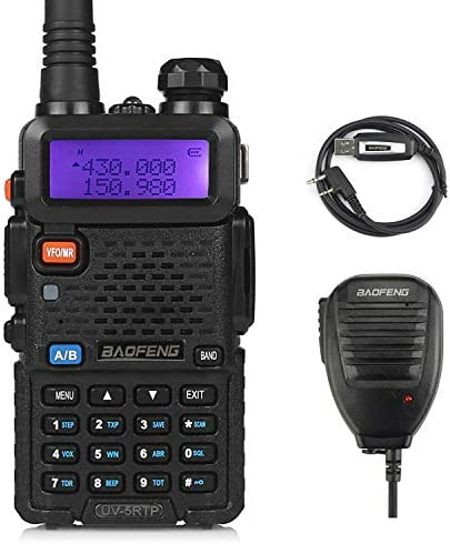 BaoFeng UV-5RTP Tri-Power 8 4 1W Two-Way Radio Transceiver UV-5R Upgraded Version with Tri-Power , Dual Band 136-174 400-520MHz True 8W High Power Two-Way Radio 1 Remote Speaker 1 Programming Cable