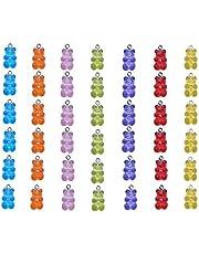 تعليقات الدب الراتينج من سمانزو جامي، عبوة من 42 حلية متدلية على شكل دب الحلوى لصناعة المجوهرات يدويًا (الوان متعددة)