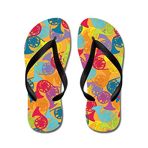 CafePress colorful French Horns - Flip Flops, Funny Thong Sandals, Beach Sandals Black